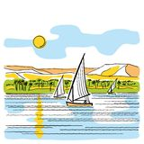 River Nile in Egypt stock illustration