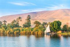 River Nile in Egypt. Luxor, Africa. Late afternoon, sunset stock photography