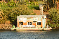 A river Nile floating pump station Stock Photography