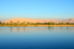 River Nile and West Bank of Luxor Royalty Free Stock Photography