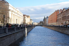 River Niva by the Savior on the Spilled Blood Church Royalty Free Stock Images