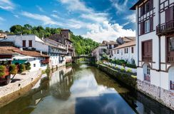 Donibane Garazi - Saint-Jean-Pied-de-Port. The river Nive crosses the city of Saint-Jean-Pied-de-Port at the heart of the French Basque Country Royalty Free Stock Photography