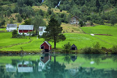 River in Norway. Beautiful river with emerald color water in Norway Royalty Free Stock Photography