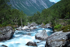 River in Norway, Trollstigen. Natural landscape and the mountain rivers of Norway Stock Photography