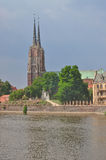 River Oder and cathedral in Wroclaw/Breslau. Two towers of metropilitan cathedral in Wroclaw, view from other side of river Oder stock photography