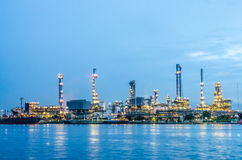 River and oil refinery factory Stock Images