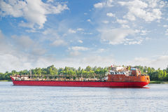 River oil tanker goes on the Volga river Stock Photo