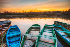 River and old rowing fishing boat at beautiful sunrise at mornin Stock Photography