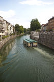 River and old town centre  in Ljubljana Royalty Free Stock Image