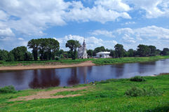 River in the old town Vologda Stock Photography