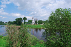 River in the old town Vologda Royalty Free Stock Image