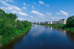 River in the old town Vologda Stock Image