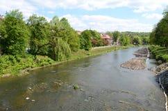 River Olza in Cieszyn. (Polish-Czech border royalty free stock images