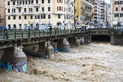 The river. One moment of the flood which took place in Genoa, October 10, 2014 Stock Photography