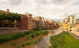 The river Onyar Girona Catalonia Spain stock image