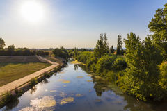 River Orb, Beziers, France. The river Orb at sunset in Beziers, Southern France stock image