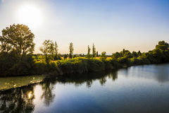 River Orb, Beziers, France. The river Orb at sunset in Beziers, Southern France Royalty Free Stock Images