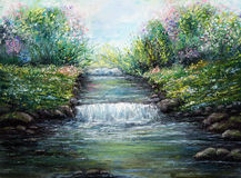 River. Original oil painting showing spring river and flowers on canvas. Modern Impressionism, modernism,marinism Stock Image
