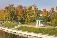 River Orlik with gazebo. In Oryol, Russia Royalty Free Stock Photography