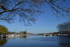 River Oude IJssel with marina Stock Image