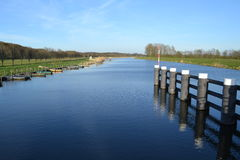 River Oude IJssel with rowing-boats Stock Images