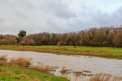 The River Ouse. Near Lewes in East Sussex during a winter high tide Royalty Free Stock Photos