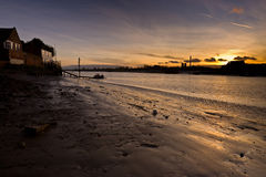 River Ouse sunset england. River Ouse at Kings Lynn UK passenger ferry and sunset Stock Image
