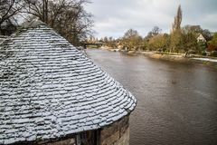 The River Ouse in Winter. In York, with some snow on the ground Royalty Free Stock Photography