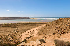 River outfall of river Wadi Draa, Atlantic, Morocco Stock Images