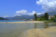 River outflow at beach,Lefkada,Greece Stock Images