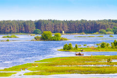River overflowed the valley Stock Photography
