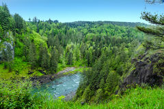River in Pacific Northwest. Snoqualmie River near Seattle, Washington in the Pacific Northwest Stock Image