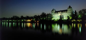River palace at dusk. Valentine Palace at dusk on river Po in Turin, Italy Stock Photo