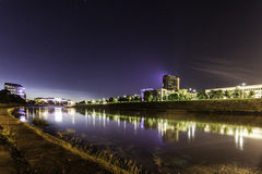 River panorama landscape Vilnius Lithuania. River panorama in Vilnius Lithuania at night Royalty Free Stock Photo