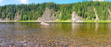 River panorama in a national Park in the Northern Urals. Stock Image