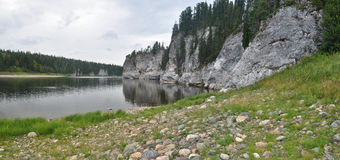 River panorama in a national Park in the Northern Urals. Royalty Free Stock Image