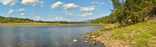 River panorama in a national Park in the Northern Urals. Stock Images
