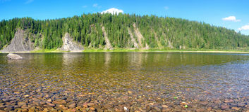 River panorama in a national Park in the Northern Urals. Royalty Free Stock Images