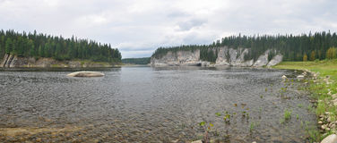 River panorama in a national Park in the Northern Urals. Stock Photo