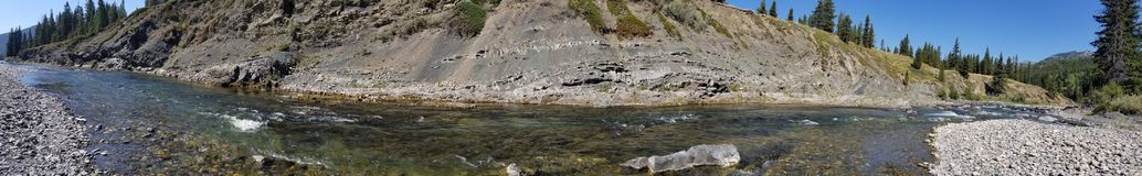 River panorama. Panorama of a river in the rocky mountains. Trout fishing Royalty Free Stock Photo