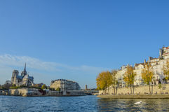 River of Paris with boats and buildings summertime. France Royalty Free Stock Photography