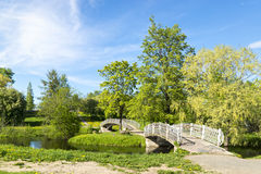 River park with foot bridges in summer Royalty Free Stock Image
