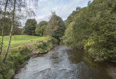 River and parkland from bridge at Moses Gate Country Park. Farnworth, Lancashire, England, UK Royalty Free Stock Image