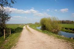 River Parrett Somerset England. River and towpath cut through farmland in Somerset England Royalty Free Stock Photos
