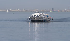 River passenger hydrofoil. On the background of the Gulf of Finland. St. Petersburg. Russia Royalty Free Stock Photo