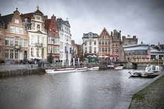River passing through a city, River Lys, Ghent, Stock Image