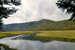 River Path. Landscape of river merging into Mountains royalty free stock photos