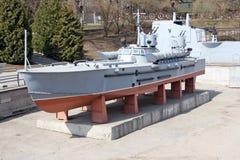 River patrol artillery armored boat Stock Photo