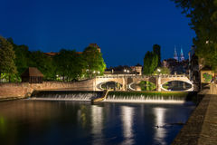 The river Pegnitz with cascades in the old town of Nuremberg, Ge Royalty Free Stock Photo