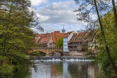 River Pegnitz in Nuremberg, Germany Royalty Free Stock Images